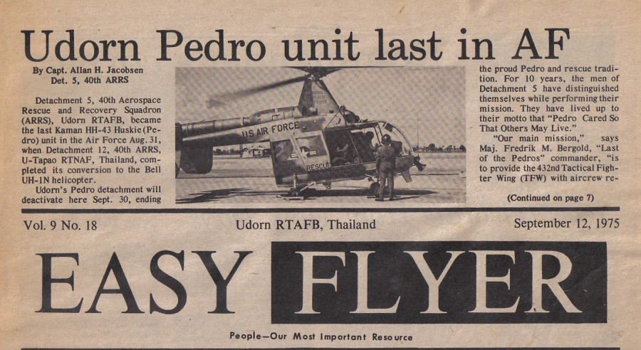 Udorn Pedro unit last in AF September12 1975 p1